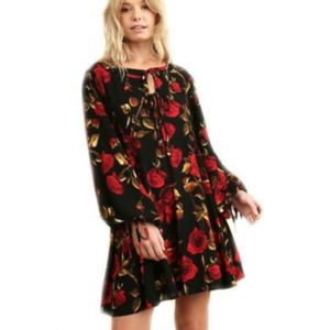 [Umgee] Floral Print Dress With Long Puff Sleeve
